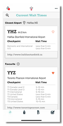 Wait time mobile app screen